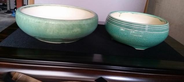 Small round blue pots